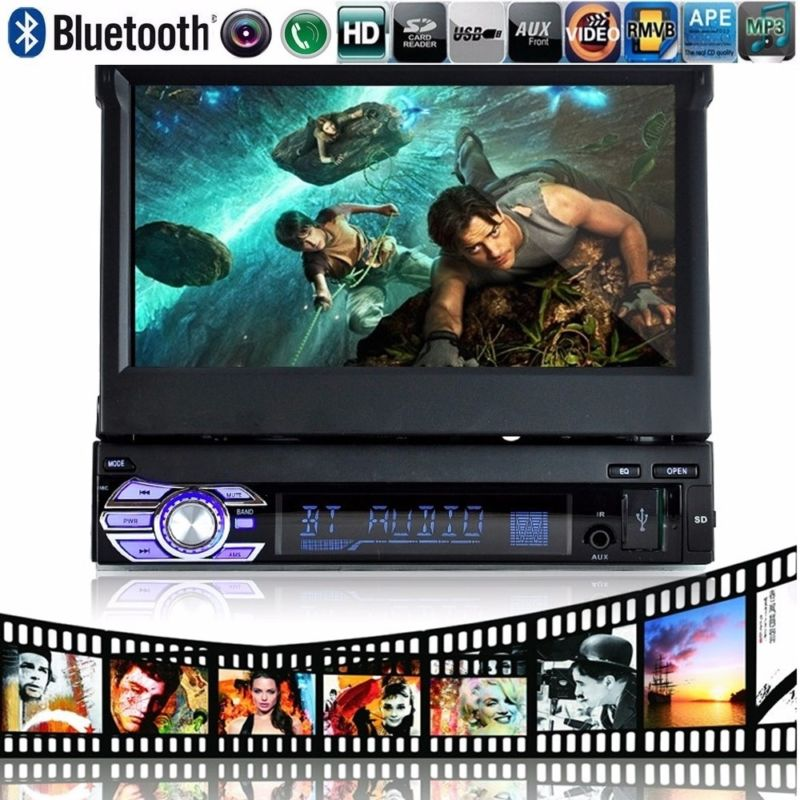 7'' Bluetooth Touch Screen free shipping USB/SD/AUX/EQ/FM/TFT 1 Din Car Radio steering wheel/remote control 3 languages free shipping nio t6b 6w fm radio broadcast bluetooth transmitter car with bluetooth and pc control