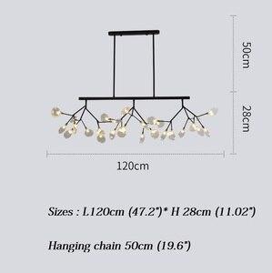 Image 4 - Moderno led novas luzes pingente criativo firfly preto ouro retângulo pingente lâmpada para sala de jantar cozinha