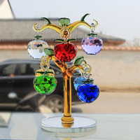 Crystal Glass Apple Tree Ornaments With 8pcs Hanging Faceted Apples Home Decor Figurine Christmas New Year