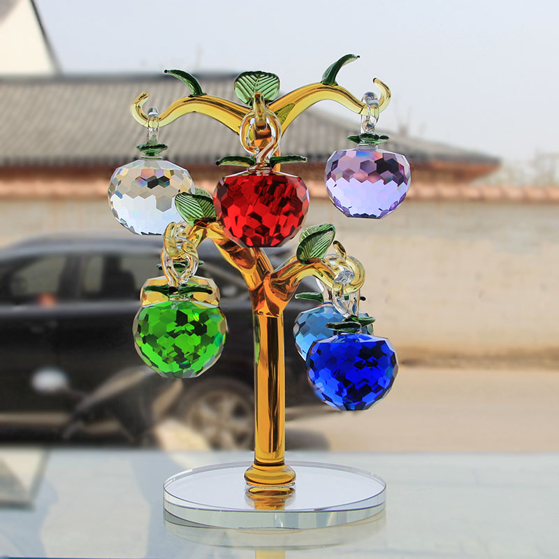 Crystal Glass Apple Tree Ornaments With 8pcs Hanging