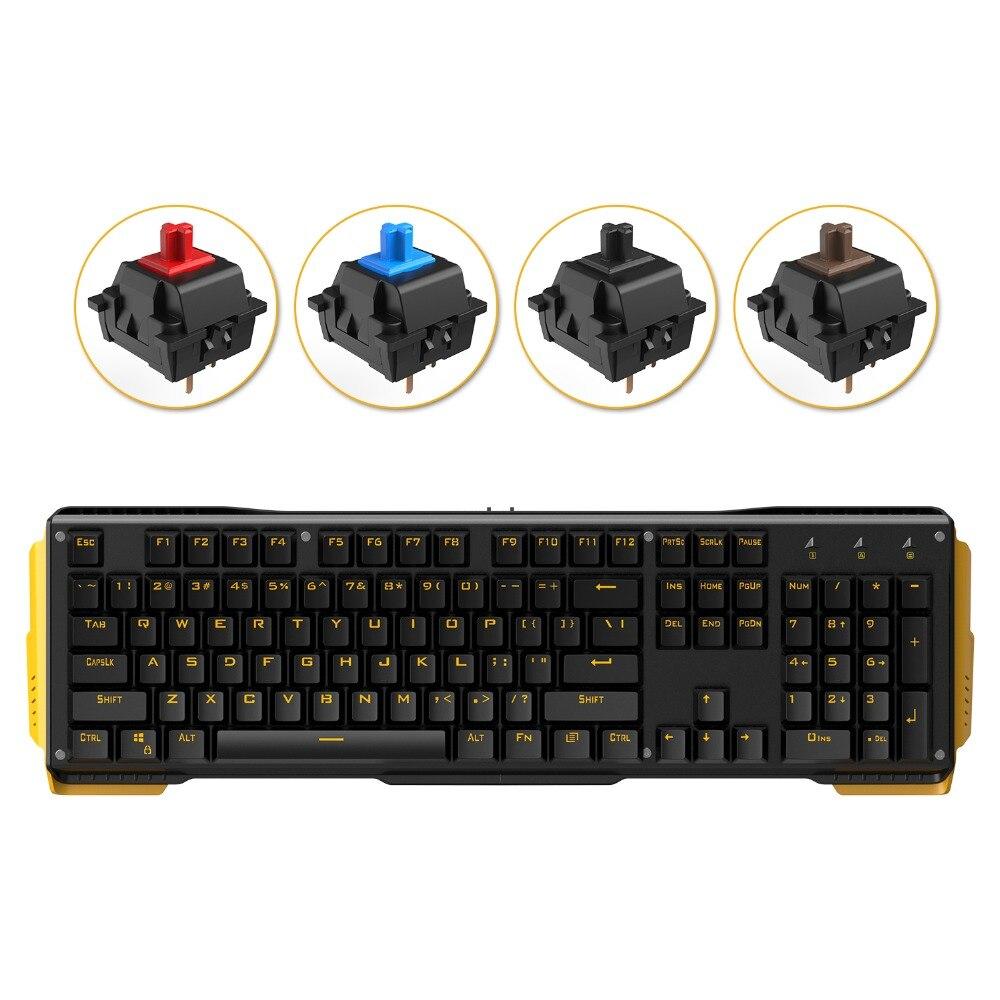 James Donkey 619 игровая клавиатура 104 ключей gateron переключатели USB проводной желтый Подсветка Механическая для Mac PC Gamer CS LOL