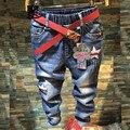 Calças de Brim das crianças Meninas 2017 Calças Jeans Da Moda Algodão Primavera/Outono Casuais Jeans Cintura Elástica Crianças Calças Das Meninas Do Bebê 5-10Yrs