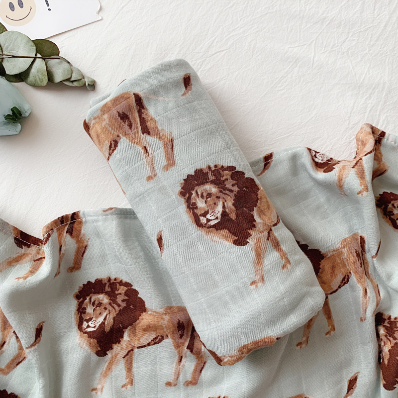 Muslin Two Layer Bamboo+cotton Camel Lion Elephant Animal Pattern Baby Wrap Muslin Swaddle Newborn Blankets Gauze Infant Wrap