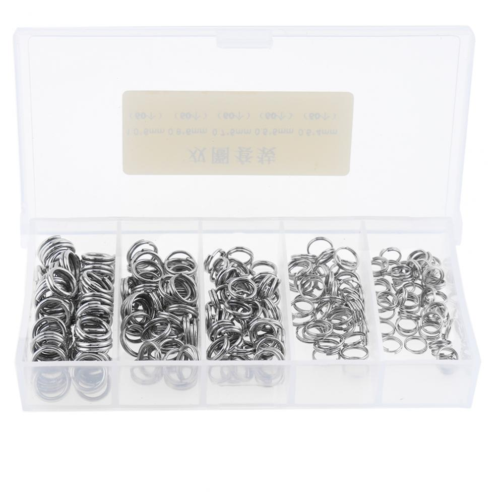 250pcs Stainless Steel Double Loop Fishing Ring 5 Sizes Mixed Split Clip Swivel Quick Change Hook Connector With Box
