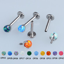 16g 14g Internally Threaded G23 Titanium Opal Ball Labret Lip Ring Ear Cartilage Helix Tragus Stud Piercing Jewelry