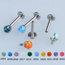 16g 14g İçten Dişli G23 Titanyum Opal Topu Labret Dudak Halkası Kulak Kıkırdak Helix Tragus Damızlık Piercing Takı