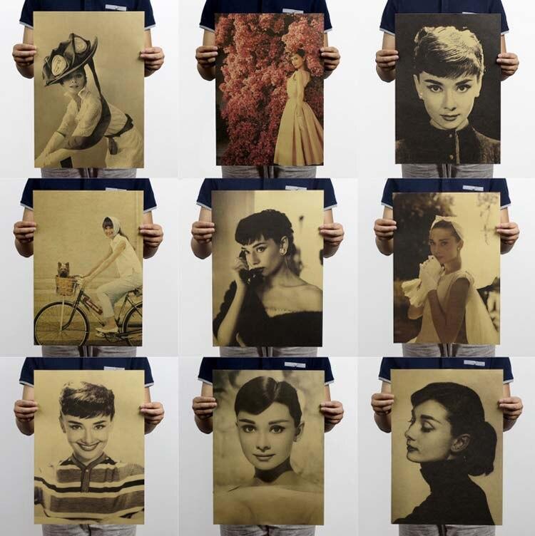 17 estilo Vintage Poster Audrey Hepburn Pósteres Home Decoraciones de Papel Kraf