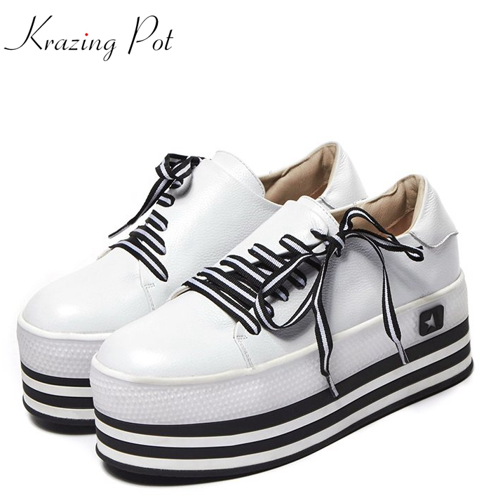 Krazing Pot 2018 genuine leather mixed colors  sneakers lace up round toe loafers special design vulcanized shoes L08 tfsland men women genuine leather loafers students white shoes unisex spring round toe lace up breathable walking shoes sneakers