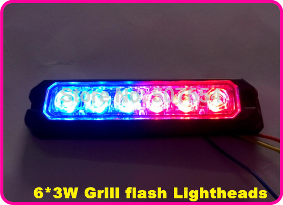 Vysoce intenzivní světla 6 * 3 W LED, výstražná světla policie, záblesková světla, nouzová záblesková světla, 22flash, vodotěsné kovové pouzdro, 2ks / lot