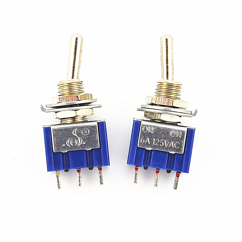 100Pcs 3 Pin 2 Position On-On SPDT Mini Latching Toggle Switch AC 125V/6A 250V/3A 1 pc new red 9 pin on off on 3 position mini toggle switch ac 6a 125v 3a 250v ve521 p