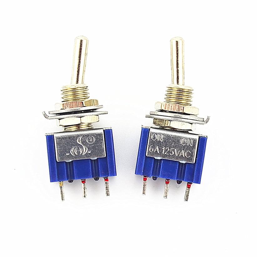 100Pcs 3 Pin 2 Position On-On SPDT Mini Latching Toggle Switch AC 125V/6A 250V/3A [vk] aml22cbx3ab switch pushbutton spdt 3a 125v switch