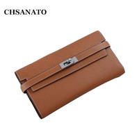 CHSANATO 100% Real Leather Wallet Women Famous Brand Luxury Designer Wallets Ladies Purse Female Genuine Leather Clutch
