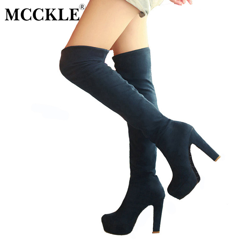 MCCKLE Female Stretch Platform High Heels Sexy Shoes Woman Two Ways Wear Plus Size 34-43 Slip-On Flock Over The Knee Long Boots 2017 women boots stretch pu leather over the knee high sexy ladies party high heels platform shoes woman black plus size 43