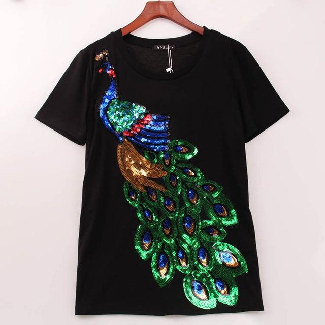 2016 благородный элегантный майка женщины павлин блестками блестки футболки женщин мода новый топ футболку Femmer женщина сакура одежда