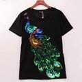 2016 Noble elegante mujer la camiseta del pavo real con lentejuelas lentejuelas T-shirt mujer moda de nueva Top Tee Shirt Femmer mujer ropa Sakura