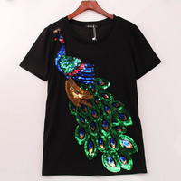 2016 Noble Elegant T Shirt Women Peacock Sequined Sequins T Shirt Women Fashion New Top Tee