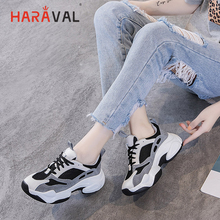 HARAVAL 2019 autumn fashion retro women's shoes sneakers Genuine Leather mesh shoes lightweight breathable  platform shoes N94 haraval personality ladies white sneakers platform shoes fashion velcro casual shoes lightweight mesh breathable women shoes n96