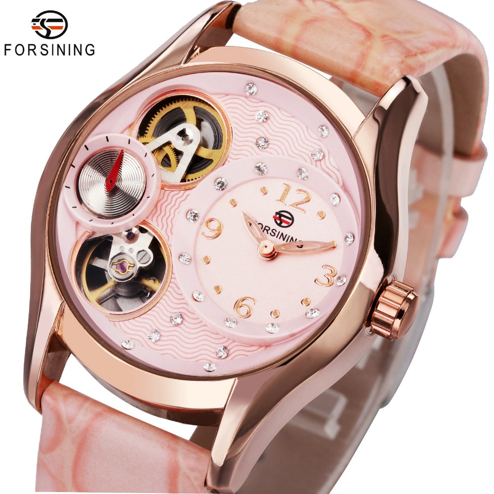 Top Brand Luxury Women Mechanical Watches Pink Leather Strap Crystal Decoration Dial FORSINING Ladies Automatic Wristwatch