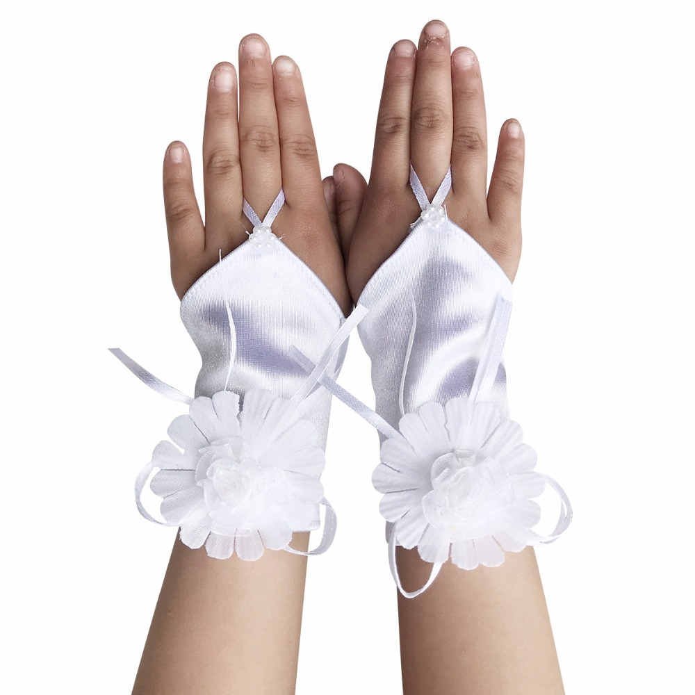 White  Kids Communion Wedding Flower Girls Party stretch Lace Gloves Ruffled
