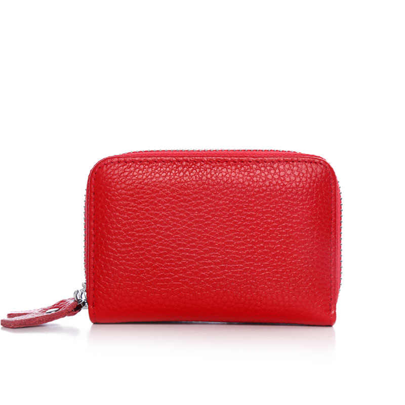 Marca de moda de la marca de moda de cuero genuino para mujer con doble cremallera de gran capacidad para mujer ID tarjeta de crédito funda bolsa cartera
