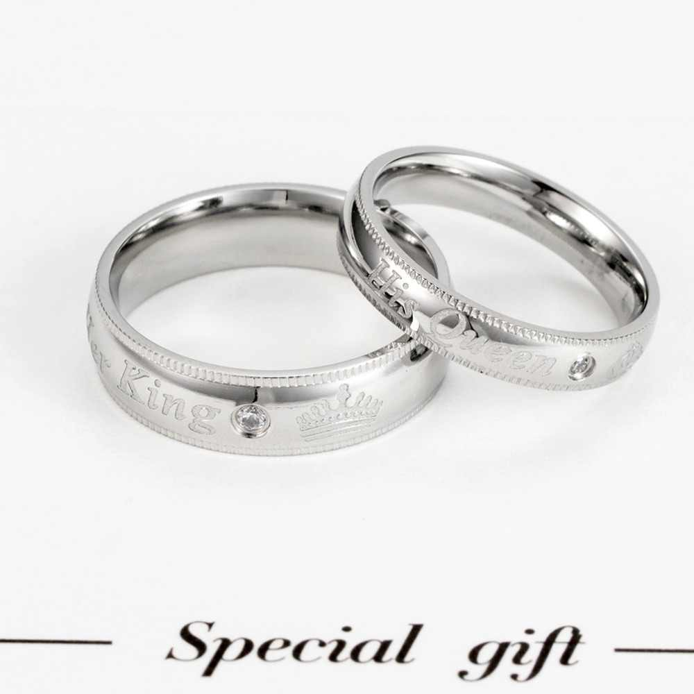 2018 New Hot sale her King his Queen Titanium Steel Couple Ring For Women man Lovers ZK80