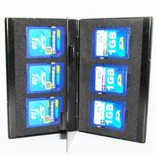 Black Aluminum box Portable memory card case 6 in 1 SD SDHC TF Card holders slots Carrying Storage Box Case