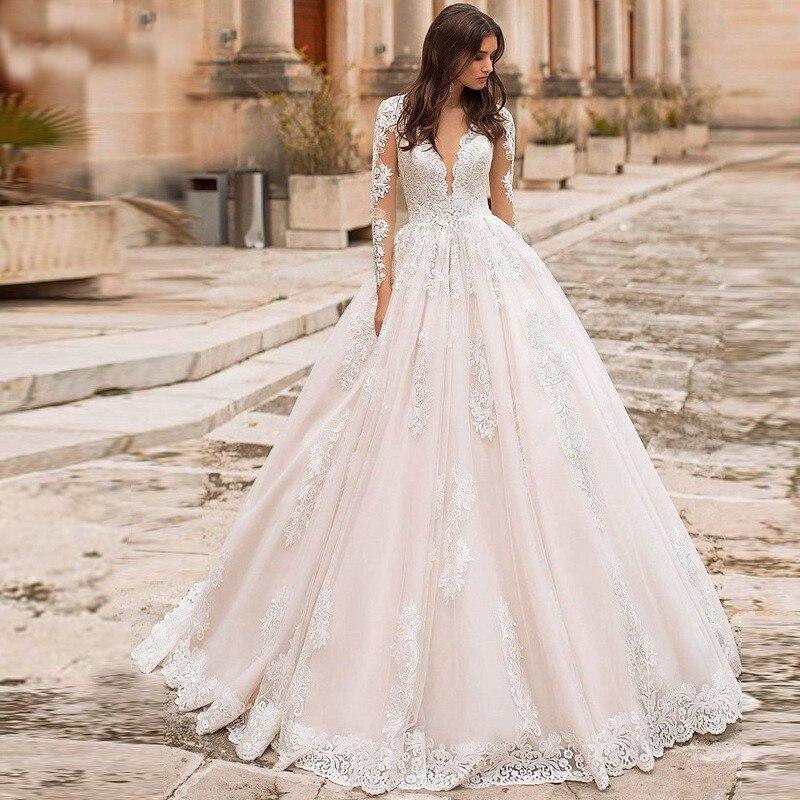 Fantastic A-line Long Sleeve Wedding Dresses Elegant Lace Gowns Illusion Back Bridal De Mariage V-neck Neckline Wedding Gowns