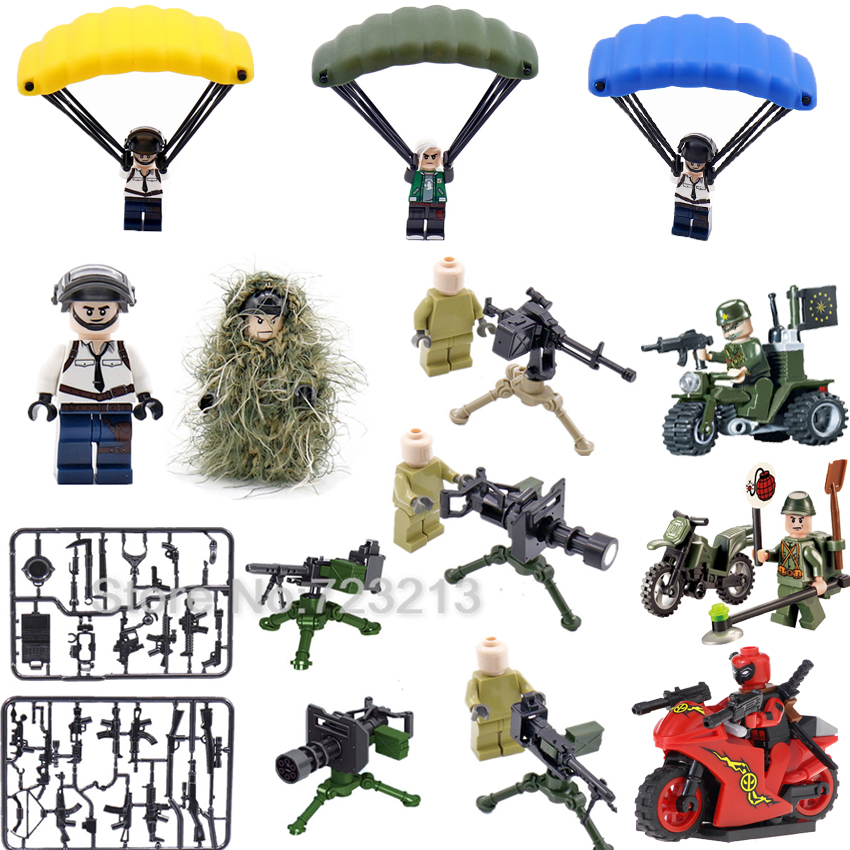 Single Building Blocks Weapon Military  SWAT Figure Parts MOC Accessories Camo Suit M2 Machine Gatling Gun Model Brick Toys