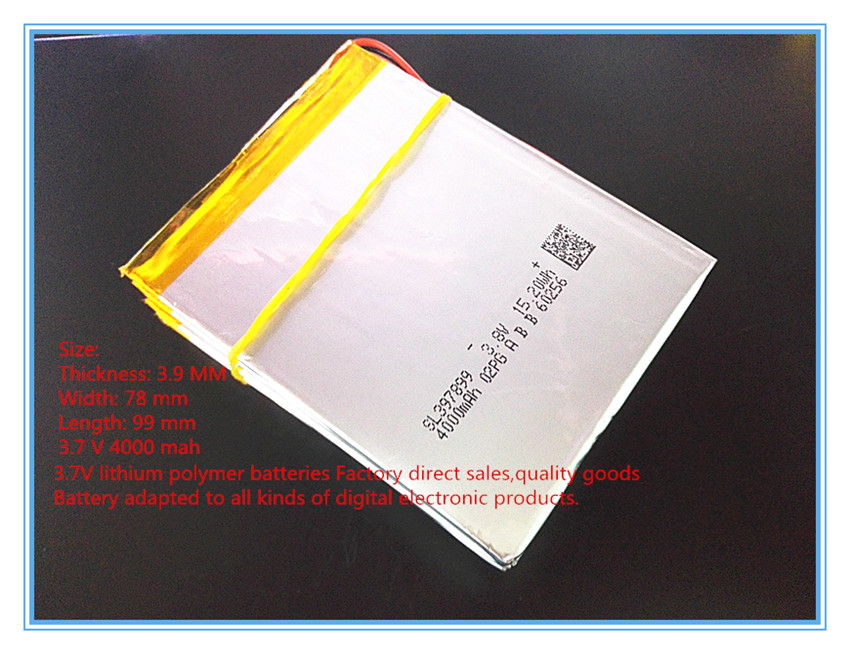 Free shipping 3.7 V 4000 mah 7 inch song mei G2 tablet MID quality products lithium-ion polymer battery 397899