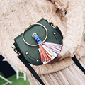 Woman Bags 2017 Luxury Handbags Designer Ladies Tassel Rivet Half Moon Faye Cross Body Ring Famous Brand Clutch Hobo Bag Female