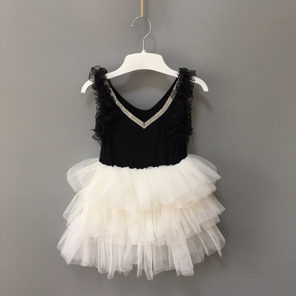 new fashion elegant baby girl crystal v-neck tutu dress children ruffles sleeveless cake dress kids black formal dress costume