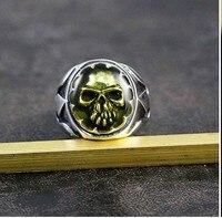 925 Серебряный Зеленый Череп персональный триллер панк ретро тайское серебряное кольцо Темный Рок Панк старый мужской тренд