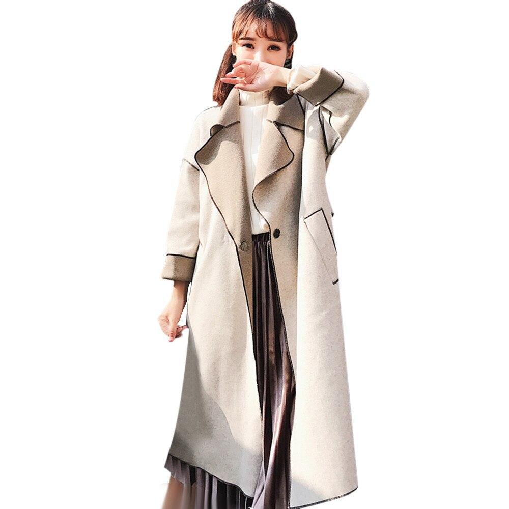 2018 Nuovo Stile Di Modo Di Inverno Delle Donne Del Rivestimento Casual Di Colore Solido Turn-giù Il Collare Button Risvolto Del Cappotto Del Rivestimento Manteau Femme Hiver