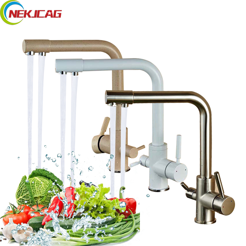 360 Rotation Swivel Pure Water Faucet Kitchen Drinking Water Tap Dual Handles Solid Brass Mixer Tap golden brass kitchen faucet dual handles vessel sink mixer tap swivel spout w pure water tap