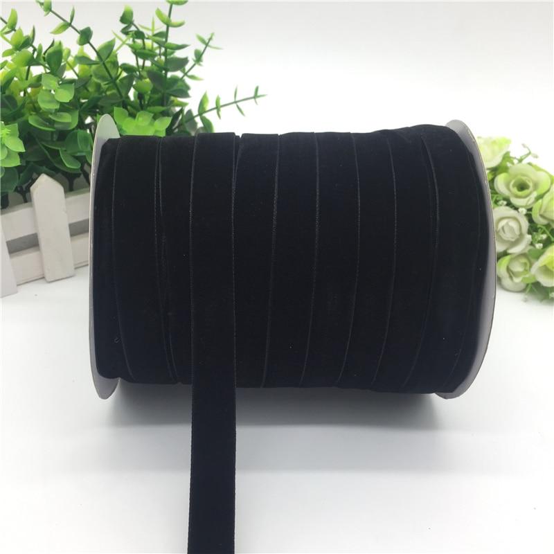 """5 ярдов 5/""""(15 мм) бархатная лента для украшения свадебной вечеринки лента ручной работы подарочная упаковка бантик для волос DIY Рождественская лента - Цвет: Black"""