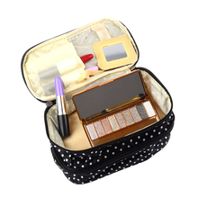 VSEN 2016 New Womens Fashion Dot Pattern Double Layer Makeup Bag makeup tool storage bag multifunctional Storage package