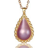 13*18mm Water Drop Natural Mabe Pearl Pendant Necklace Pink/Blue/White Genuine Real Pearl Necklace 925 Silver/18K Gold Necklaces