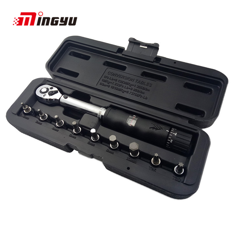 1/4DR 2-14Nm Manual Bit Socket Torque Wrench Bicycle Repair Hand Tools Kit Ratchet Torque Spanner Bike Torque Wrench Set mxita 1 4dr 2 14n m manual torque wrench spanner ratchet wrench suit for repairing bicycle packed in plastic storage box