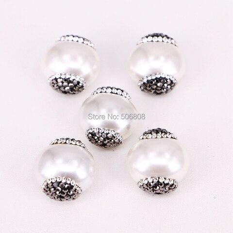 Mãe de Pearl Natureza Branco Pérola Shell Strass Pavimentada Connector Bead Charme Faça Você Mesmo Pulseira Colar 10 Pcs Zyz294-9116