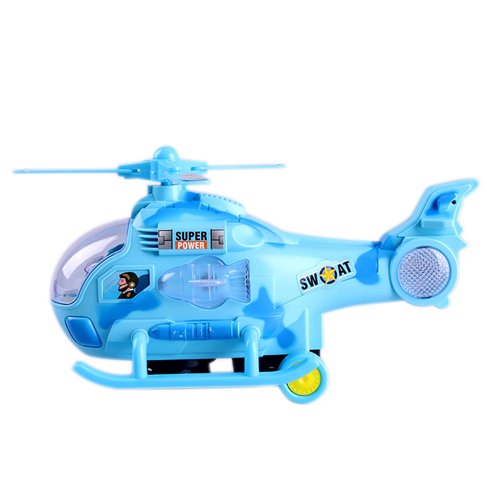 Mini Plastic Flying Helicopter Model Plane Toy With Music Light Blue Planes Gifts for Kids Boys YH-17