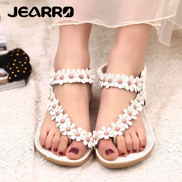 83097a9535a JEARRO Women Sandals Summer Style Bling Bowtie Fashion Peep Toe Jelly Shoes  Sandal Flat Shoes Woman