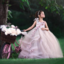 Backless Ball Gown Flower Girl Dresses For Wedding Beaded Tiered Toddler Pageant Gowns Tulle Appliqued Sweep Train Kids cute pink lace flower girl dresses sheer sleeves appliqued baby girl dress tiered toddler pageant birthday dress for party gowns