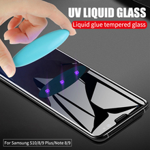 9D UV Liquid Full Glue Tempered Glass For Samsung Galaxy Note 10 Pro S10 5G E S8 S9 Plus 8 9 Screen Protector Cover Film