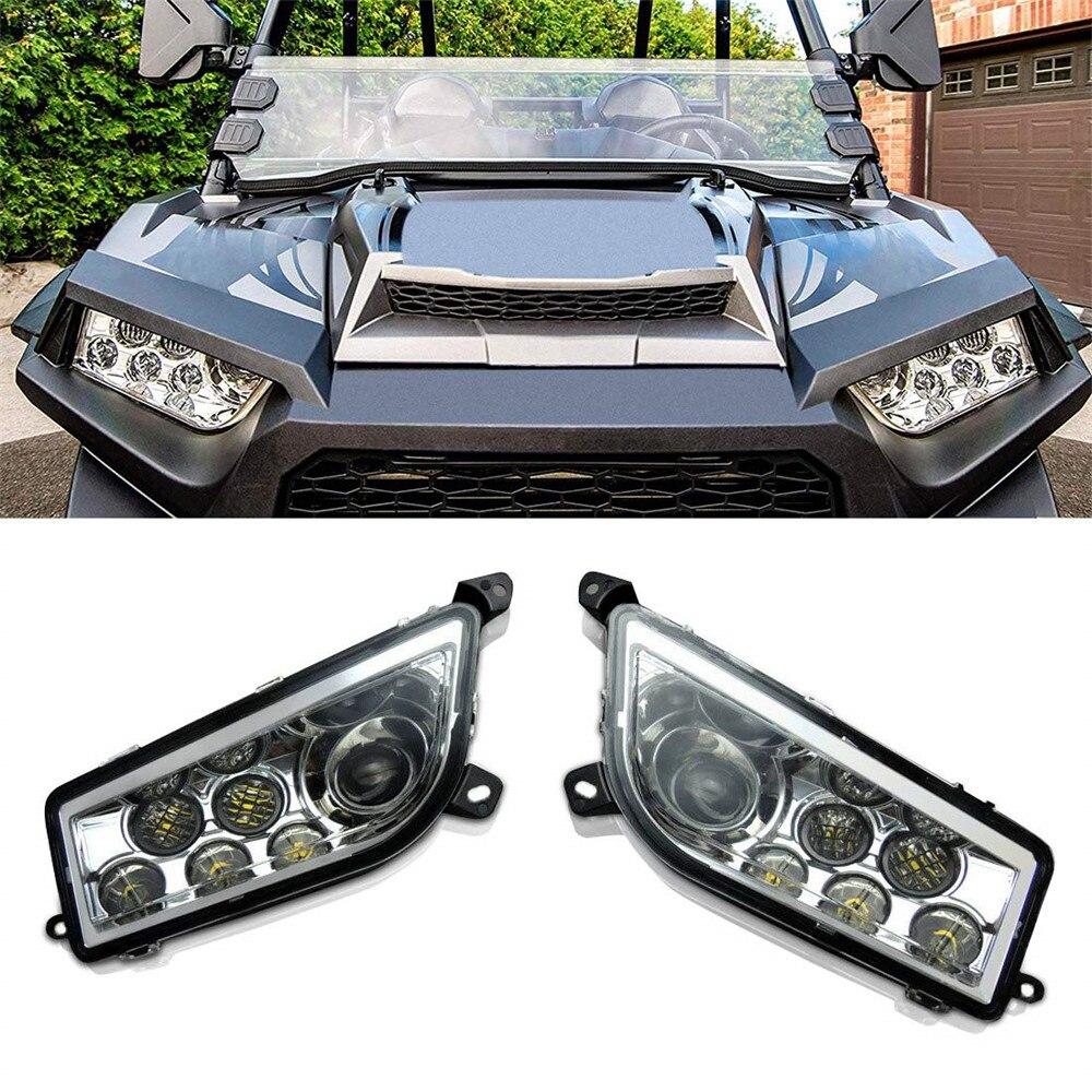 KEMiMOTO UTV Pair Of LED Headlight Head light Lamps Plug Harnesses For POLARIS RZR 1000 XP