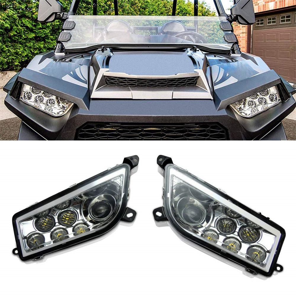 KEMiMOTO UTV Pair Of LED Headlight Head light Lamps Plug Harnesses For POLARIS RZR 1000 XP 4 1000 2014 2019 2015 2016 2017-in ATV Parts & Accessories from Automobiles & Motorcycles    1