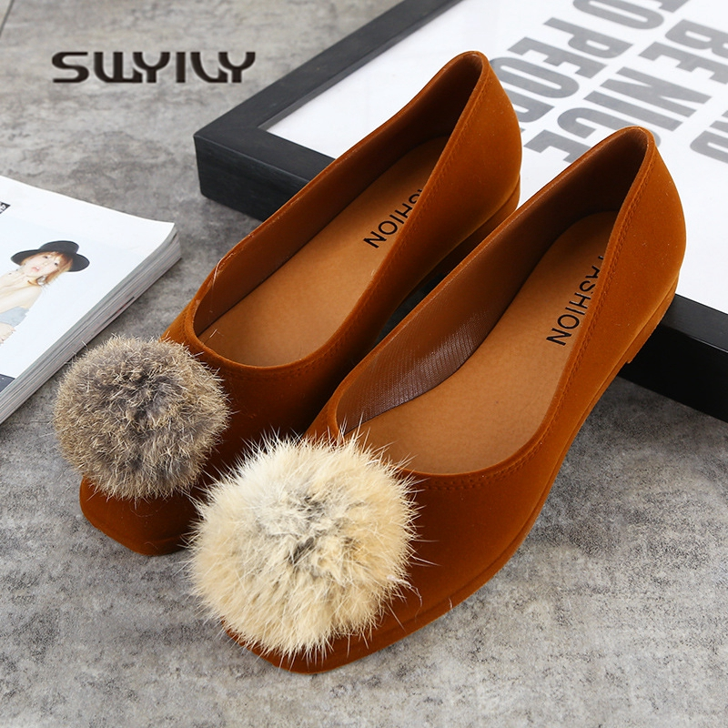 SWYIVY Flat Shoes Women Rabbit Fur Ball 2018 Spring Summer Velvet Woman Casual Flats Shoes Solid Shallow Female Flat Square Toe cresfimix zapatos women cute flat shoes lady spring and summer pu leather flats female casual soft comfortable slip on shoes