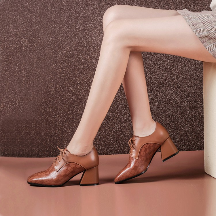 13f646892 MLJUESE/2018 женские туфли-лодочки из коровьей кожи, на шнуровке,  коричневого цвета, с острым носком, осень-весна, туфли-лодочки на высоком  каблуке.