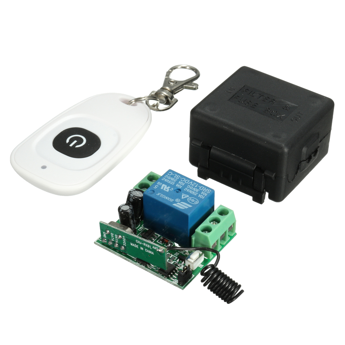 2PCS DC 12v 10A Relay 1CH Wireless RF Remote Control Switch Controller Transmitter + Receiver