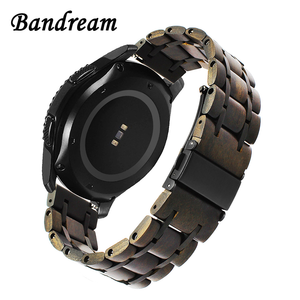 Nature Wood & Stainless Steel Watchband 20mm 22mm for Diesel Fossil Timex Armani
