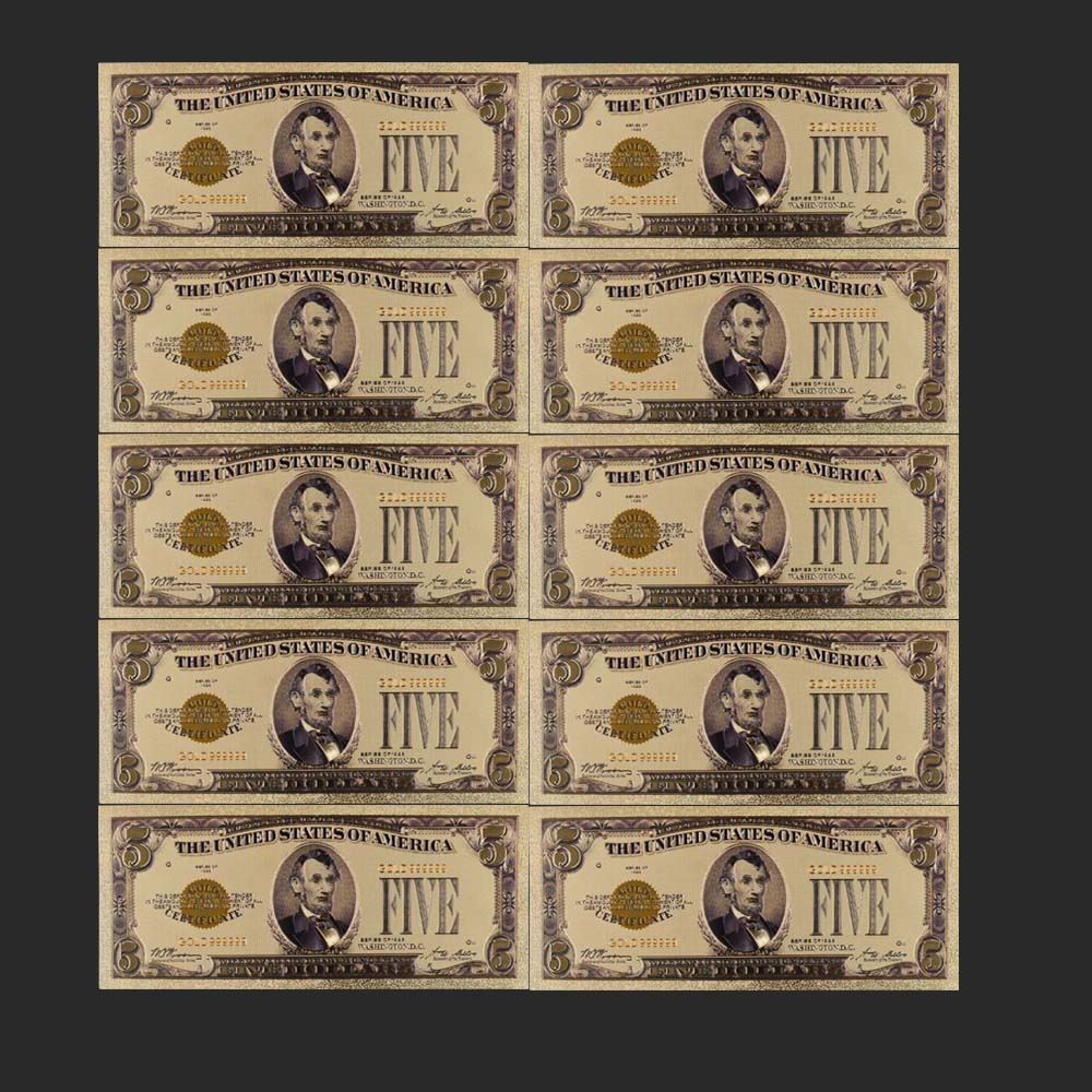 10 Pcs 1928 Year Colorful USA Banknotes <font><b>5</b></font> <font><b>Dollar</b></font> <font><b>Bills</b></font> Bank Note In 24K Gold Plated Fake Currency Money for Gifts Free Shipping image